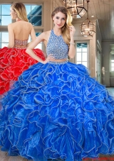 Designer Halter Top Ruffled and Beaded Organza Royal Blue Quinceanera Gown