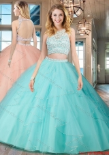 Discount Two Piece See Through Scoop Open Back Aquamarine Quinceanera Dress