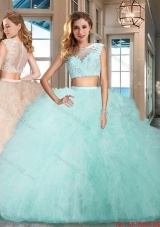 Discount Two Piece Tulle Aquamarine Quinceanera Dress with Ruffles and Appliques