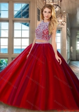 Fashionable Brush Train Open Back Red Quinceanera Dress with Beading