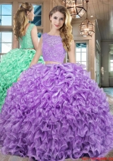 Hot Sale Two Piece Laced Floor Length Lavender Quinceanera Dress in Organza