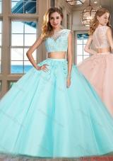 Hot Sale Zipper Up Applique Aqua Blue Quinceanera Dress with Cap Sleeves