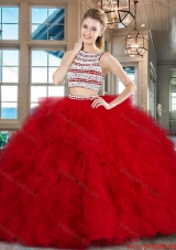 Modern Two Piece Ruffled and Beaded Quinceanera Dress with Brush Train
