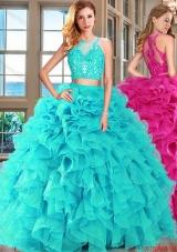 Perfect Aqua Blue Zipper Up Quinceanera Dress with Ruffles and Appliques