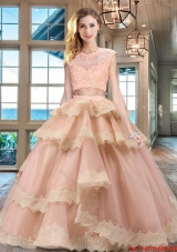 Pretty Two Piece Ruffled Layers and Lacework Quinceanera Dress in Tulle