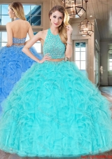Two Piece Big Puffy Aqua Blue Quinceanera Dress with Ruffles and Beading