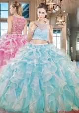 Wonderful See Through Bateau Ruffled and Beaded Quinceanera Dress in Aqua Blue