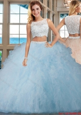 Champagne Puffy Bateau Brush Train Side Zipper Quinceanera Dresses with Beading and Ruffles