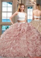 Fashionable Puffy Skirt Straps Beaded and Ruffled Two Piece Backless White and Pink Quinceanera Dresses