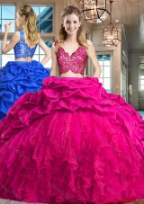 Unique Bubble Brush Train Hot Pink Quinceanera Dress in Tulle and Taffeta