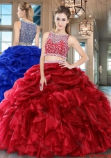 Lovely Puffy Beaded Bodice Ruffled and Bubble Quinceanera Dress in Organza