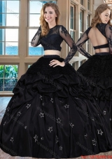 Two Piece Black Puffy Scoop Taffeta Long Sleeves Backless Quinceanera Dresses with Embroidery and Bubbles