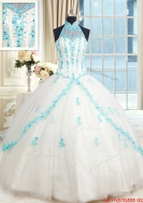 Cheap Visible Boning Halter Top Quinceanera Dress with Appliques and Beading