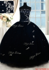 Exclusive Puffy Skirt Strapless Beaded Quinceanera Dress in Navy Blue