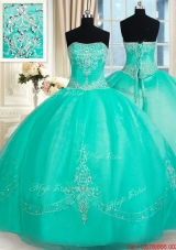Fashionable Strapless Applique and Beaded Organza Quinceanera Dress in Turquoise