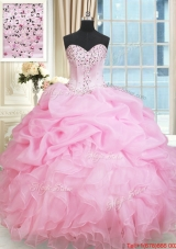 Latest Ruffled Beaded and Bubble Rose Pink Quinceanera Dress in Organza
