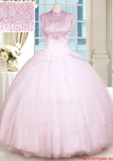 Latest See Through Beaded Decorated High Neck Zipper Up Baby Pink Quinceanera Dress in Tulle
