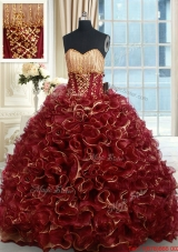Luxurious Beaded Brush Train Burgundy Quinceanera Dress in Rolling Flowers