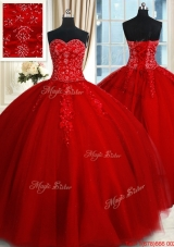 Modern Big Puffy Tulle Red Quinceanera Dress with Appliques and Beading