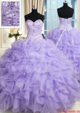 Most Popular Organza Ruffled and Beaded Bodice Quinceanera Dress in Lavender