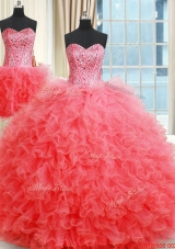 New Arrivals Two for One Visible Boning Quinceanera Dress with Ruffles and Beaded Bodice