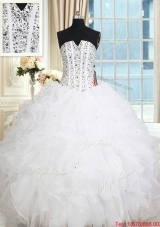 New Arrivals Visible Boning V Neck Beaded Bodice Ruffled White Quinceanera Dress