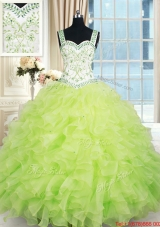Popular Straps Organza Ruffled and Beaded Quinceanera Dress in Yellow Green