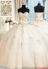 Top Seller Puffy Skirt Sweetheart Beaded Champagne Quinceanera Dress in Tulle