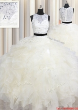 Two Piece See Through Scoop Champagne Quinceanera Dress with Beading and Ruffles