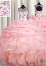 Top Seller See Through Scoop Beaded and Ruffled Quinceanera Dress in Baby Pink