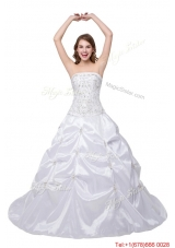 Puffy Strapless Brush Train White Quinceanera Dress with Beading and Pick Up