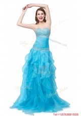 Column Sweetheart Lace Up Long Prom Dresses with Beading and Ruffles