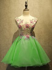 Sleeveless Organza Mini Length Lace Up Prom Gown in with Embroidery