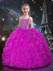 Fuchsia Sleeveless Organza Lace Up Kids Pageant Dress for Quinceanera and Wedding Party