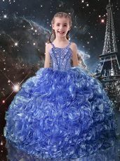 Trendy Blue Lace Up Little Girls Pageant Dress Wholesale Beading and Ruffles Sleeveless Floor Length