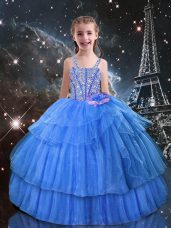Light Blue Ball Gowns Organza Straps Sleeveless Beading and Ruffled Layers Floor Length Lace Up Little Girl Pageant Dress