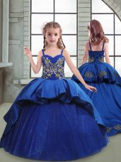 Royal Blue Little Girl Pageant Gowns Taffeta and Tulle Brush Train Sleeveless Embroidery