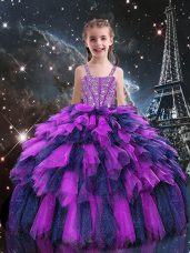 Sleeveless Floor Length Beading and Ruffles Lace Up Little Girls Pageant Dress with Eggplant Purple