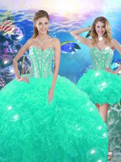 Sleeveless Lace Up High Low Beading and Ruffles Quinceanera Dress