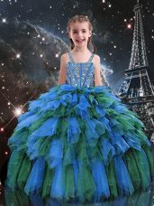 Custom Fit Blue Tulle Lace Up Straps Sleeveless Floor Length Little Girls Pageant Gowns Beading and Ruffles