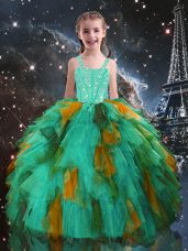 Charming Straps Sleeveless Little Girl Pageant Dress Floor Length Beading and Ruffles Turquoise Tulle