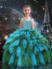 High Quality Straps Sleeveless Tulle Kids Formal Wear Beading and Ruffles Lace Up