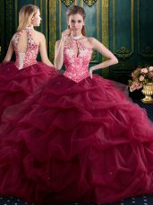 Custom Made Tulle Halter Top Sleeveless Lace Up Beading and Ruffles and Pick Ups Vestidos de Quinceanera in Wine Red