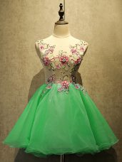 A-line Prom Evening Gown Green Scoop Organza Sleeveless Mini Length Lace Up