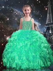 Apple Green Spaghetti Straps Neckline Beading and Ruffles Little Girl Pageant Gowns Sleeveless Lace Up