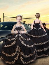 Glorious Black Ball Gowns Spaghetti Straps Sleeveless Taffeta Floor Length Lace Up Embroidery and Ruffled Layers Kids Formal Wear