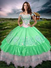 Super Sleeveless Taffeta Floor Length Lace Up Quinceanera Gown in Green with Beading and Embroidery and Ruffled Layers