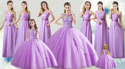Inexpensive Scoop Sleeveless Quinceanera Dresses Floor Length Beading Lilac Tulle