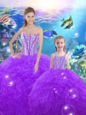 Hot Sale Beading and Ruffles Quinceanera Dresses Purple Lace Up Sleeveless Floor Length