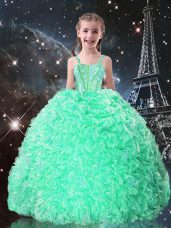 Apple Green Ball Gowns Straps Sleeveless Organza Floor Length Lace Up Beading and Ruffles Pageant Gowns For Girls